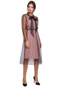 MAKEOVER - Pudrowa Elegancka Sukienka z Tiulem. Materiał: tiul. Styl: elegancki
