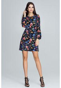 e-margeritka - Prosta sukienka kwiatowe wzory czarna - m. Okazja: na co dzień. Kolor: czarny. Materiał: materiał, elastan, tkanina, włókno, poliester. Długość rękawa: długi rękaw. Wzór: kwiaty. Sezon: lato, wiosna. Typ sukienki: proste. Styl: casual