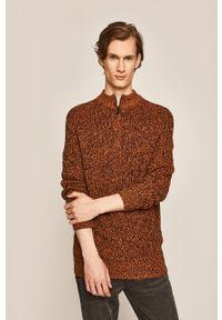 Brązowy sweter medicine na co dzień, raglanowy rękaw, casualowy