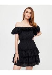 LOVE & ROSE - Czarna sukienka Mona. Kolor: czarny. Materiał: koronka, bawełna. Długość rękawa: na ramiączkach. Wzór: koronka, aplikacja, kwiaty. Sezon: lato