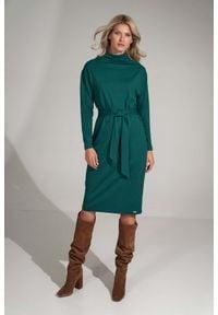 Figl - Sukienka z Golfem i Paskiem - Zielona. Typ kołnierza: golf. Kolor: zielony. Materiał: poliester, wiskoza, elastan