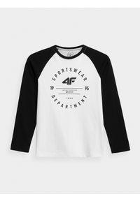 Biała koszulka z długim rękawem 4f z nadrukiem
