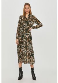 only - Only - Sukienka. Kolor: zielony. Materiał: tkanina. Długość rękawa: długi rękaw. Typ sukienki: rozkloszowane