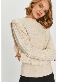 Kremowy sweter Answear Lab długi, wakacyjny, na co dzień, z długim rękawem