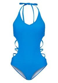 Kostium kąpielowy z przyjaznego dla środowiska materiału bonprix niebieski. Kolor: niebieski. Materiał: materiał. Wzór: aplikacja