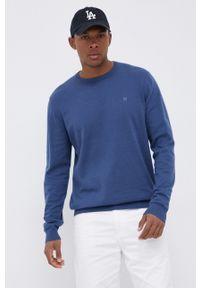 Wrangler - Sweter z domieszką wełny. Kolor: niebieski. Materiał: wełna. Długość rękawa: długi rękaw. Długość: długie