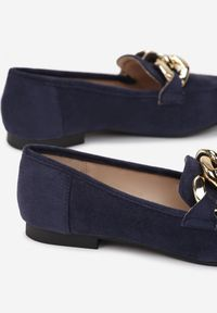 Born2be - Granatowe Mokasyny Phaeronia. Nosek buta: okrągły. Zapięcie: bez zapięcia. Kolor: niebieski. Wzór: aplikacja. Obcas: na obcasie. Wysokość obcasa: niski