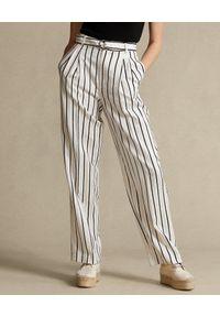 Ralph Lauren - RALPH LAUREN - Satynowe spodnie z paskiem. Kolor: beżowy. Materiał: satyna. Długość: długie. Wzór: paski. Styl: klasyczny