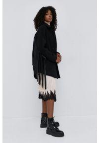 TwinSet - Twinset - Płaszcz wełniany. Kolor: czarny. Materiał: wełna. Wzór: gładki