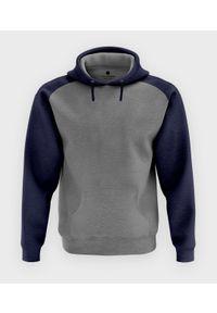 MegaKoszulki - Męska bluza dwukolorowa (bez nadruku, gładka) - grafitowo-szara. Kolor: szary. Wzór: gładki