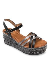 Czarne sandały SIXTH SENS eleganckie, w kolorowe wzory, ze sprzączką