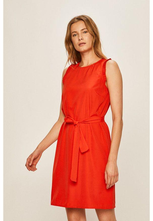 Czerwona sukienka Vila bez rękawów, biznesowa