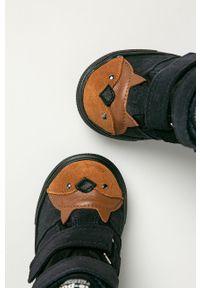 Niebieskie buty zimowe Mrugała z cholewką, na zimę, na rzepy