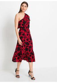 Sukienka one-shoulder bonprix czerwono-czarny z roślinnym nadrukiem. Kolor: czerwony. Wzór: nadruk. Sezon: lato