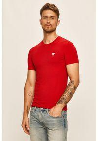 Czerwony t-shirt Guess Jeans z aplikacjami, na co dzień, z okrągłym kołnierzem