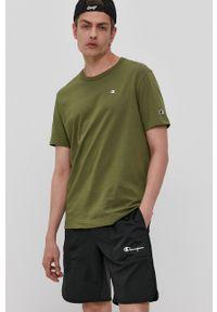 Champion - T-shirt. Okazja: na co dzień. Kolor: zielony. Materiał: dzianina. Wzór: gładki. Styl: casual
