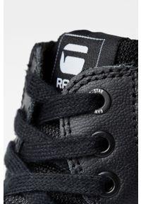 Czarne sneakersy G-Star RAW na sznurówki, z okrągłym noskiem