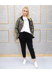 EMMA & GAIA - Spodnie z lampasem z cekinów. Okazja: na co dzień. Kolor: czarny. Styl: elegancki, klasyczny, casual