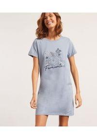 Alyn Koszula Nocna Z Napisem 'Farniente' - Niebieski - Etam. Kolor: niebieski. Materiał: syntetyk, bawełna. Długość: krótkie. Wzór: napisy