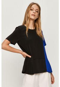 Czarna bluzka DKNY casualowa, na co dzień, z krótkim rękawem, krótka