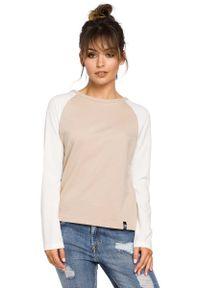 MOE - Beżowa Klasyczna Bluzka z Długim Rękawem. Kolor: beżowy. Materiał: bawełna, elastan. Długość rękawa: długi rękaw. Długość: długie. Styl: klasyczny