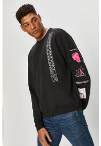Czarna bluza nierozpinana Calvin Klein Jeans na co dzień, z nadrukiem
