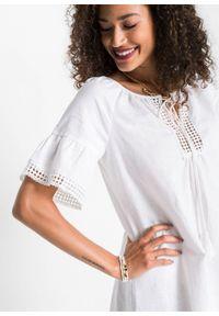 Sukienka lniana bonprix biały. Kolor: biały. Materiał: len