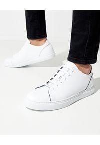 Baldinini - BALDININI - Białe skórzane sneakersy. Okazja: na co dzień. Zapięcie: sznurówki. Kolor: biały. Materiał: skóra. Wzór: gładki