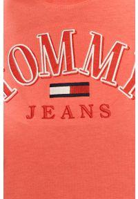 Różowa bluzka Tommy Jeans na co dzień, casualowa, z aplikacjami