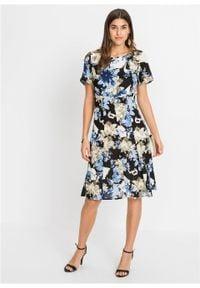 Niebieska sukienka bonprix z nadrukiem, z krótkim rękawem