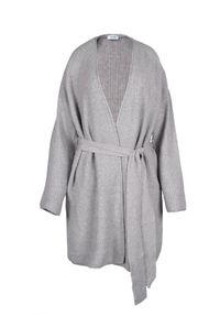 VEVA - Szary długi sweter z paskiem smooth spirit. Kolor: szary. Materiał: jedwab, jeans. Długość rękawa: długi rękaw. Długość: długie. Wzór: nadruk, kwiaty. Styl: boho