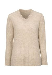 Beżowy sweter Cellbes klasyczny, z dekoltem w serek