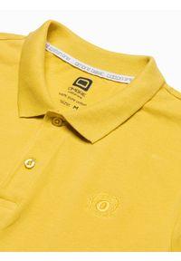 Ombre Clothing - Koszulka męska polo klasyczna bawełniana S1374 - żółta - XXL. Typ kołnierza: polo. Kolor: żółty. Materiał: bawełna. Wzór: haft. Styl: klasyczny
