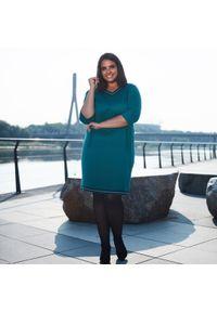 Zielona sukienka dla puszystych Moda Size Plus Iwanek wizytowa, na jesień, midi
