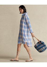 Ralph Lauren - RALPH LAUREN - Sukienka lniana w kratę. Typ kołnierza: polo. Kolor: biały. Materiał: len. Długość: długie #5