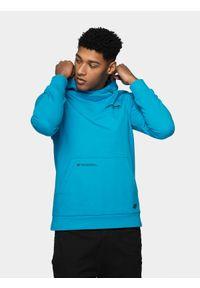 Niebieska bluza nierozpinana 4f casualowa, z kapturem