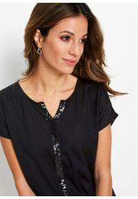 Długi shirt z cekinami bonprix czarny. Kolor: czarny. Długość: długie. Styl: elegancki