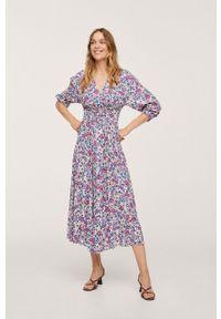 mango - Mango - Sukienka Crosser. Kolor: beżowy. Materiał: włókno, tkanina. Długość rękawa: długi rękaw. Typ sukienki: rozkloszowane