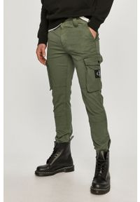 Zielone spodnie Calvin Klein Jeans gładkie