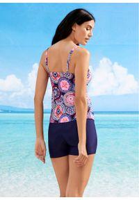 Top plażowy tankini bonprix ciemnoniebiesko-różowy z nadrukiem. Kolor: niebieski. Wzór: nadruk