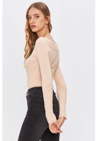 Kremowy sweter ANSWEAR wakacyjny, z długim rękawem