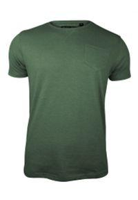 Zielony T-Shirt (Koszulka) z Kieszonką, Bez Nadruku -Brave Soul- Męski, Okrągły Dekolt, Oliwkowy. Okazja: na co dzień. Kolor: zielony, oliwkowy, wielokolorowy. Materiał: bawełna, poliester. Sezon: lato, wiosna. Styl: casual