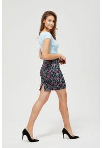 MOODO - Spódnica mini z paskiem. Materiał: bawełna, poliester, elastan. Wzór: kwiaty
