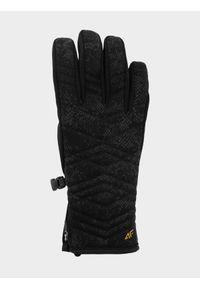 4f - Rękawice narciarskie damskie. Kolor: czarny. Materiał: materiał, softshell, futro, syntetyk, skóra. Technologia: Thinsulate. Sezon: zima. Sport: narciarstwo