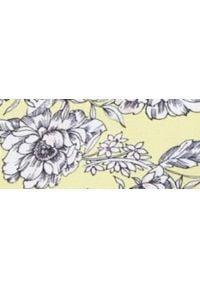 TOP SECRET - Bluzka w kwiaty z ozdobnym wiązaniem w pasie. Okazja: na co dzień. Kolor: żółty. Materiał: materiał. Długość rękawa: krótki rękaw. Wzór: kwiaty. Sezon: wiosna, lato. Styl: casual