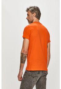Pepe Jeans - T-shirt Eggo. Kolor: pomarańczowy. Wzór: nadruk