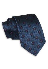 Granatowy Klasyczny Szeroki Krawat w Geometryczny Wzór -Angelo di Monti- 7 cm, Męski, Elegancki. Kolor: niebieski, różowy, wielokolorowy. Wzór: geometria. Styl: klasyczny, elegancki
