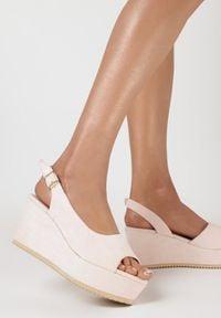 Born2be - Różowe Sandały Pasophis. Nosek buta: okrągły. Zapięcie: pasek. Kolor: różowy. Materiał: len. Obcas: na koturnie. Styl: elegancki