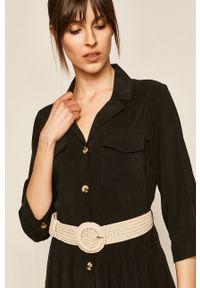 Czarna sukienka medicine midi, rozkloszowana, boho