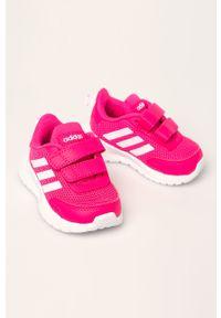 Różowe buty sportowe Adidas na rzepy, z cholewką, do biegania, z okrągłym noskiem